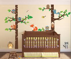 Tree Nursery Wall Decal Birch Tree Forest Set Vinyl Wall Nursery Decal With Owls Fox