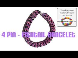 make loom band hair pins how to make the 4 pin fishtail loom band bracelet using homemade