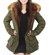 4how womens parka jacket hooded winter coats faux fur