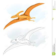 sketches with pterodactyl dinosaur royalty free stock photo