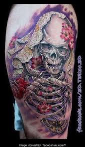 3d skeleton and color flowers tattooshunt com