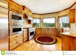 wood luxury home kitchen interior new farm american home stock