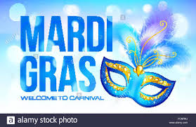 mardi gras banner blue mardi gras banner template with carnival mask and feathers