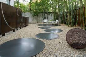 Backyard Gravel Ideas - bamboo ideas for decorating landscape modern with gravel patio