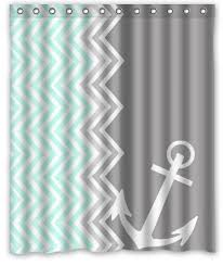 Machine Washable Shower Curtain Personalized Funny Chevron Anchor Machine Washable Super Soft