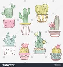 Cute Succulent Pots Cute Succulent Flowers Funny Pots Vector Stock Vector 426552847