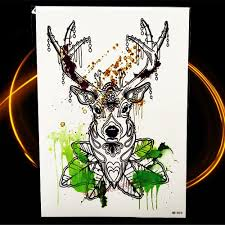 online shop black henna waterproof temporary tattoo deer moose