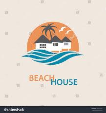 seaside beach logo houses palms vector stock vector 626537468