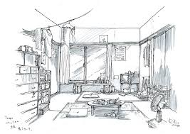 Interior Decoration Sketches Interior Design Of The Living Room With Big Couch Puffs And Book