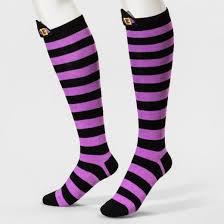 s 3d knee high socks witch merona purple black one size
