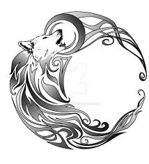 collection of 25 black crescent moon and tribal wolf howl tattoos