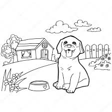 coloring book with dog and landscape u2014 stock vector attaphongw