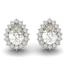 diamond teardrop earrings pear cut diamond teardrop halo stud earrings 14k white gold 1 05ct