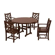 polywood chippendale mahogany 5 piece plastic outdoor patio dining