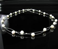 sterling silver pearls necklace images Double strand 925 sterling silver pearl necklace jpg