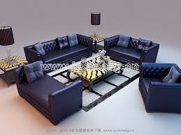 Blue Leather Sofa by Combination Of The Blue Leather Sofa 3d Model Including Materials