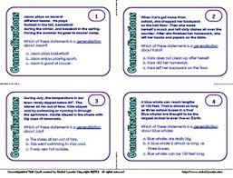 task cards for identifying generalizations with digital option