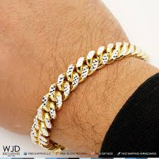 cuban chain bracelet images 14k yellow gold over silver diamond cut 11mm miami cuban chain jpg