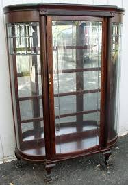 antique curio cabinet with curved glass elegant dazzling curved glass china cabinet antique value oak