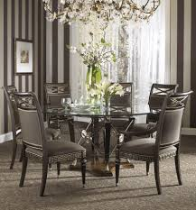 Wallpaper For Dining Room Modern Dining Room Decor With Glamorous Round Glass Table
