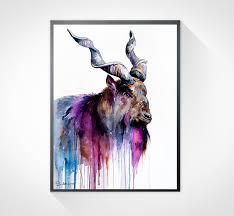 Goat Home Decor Raccoon Watercolor Painting Print By Slaveika Aladjova