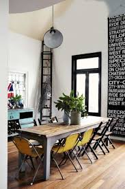 rustic modern dining room with narrow table and different types of