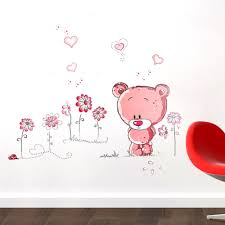 wall stickers home decor new cute lovely pink bear nursery baby kids children art