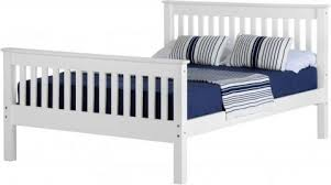 double bed high foot end bed frame in white