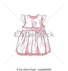 vector illustration of baby dress sketch hand drawn illustration