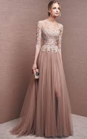 wedding dress brokat bateau 1 2 sleeves tulle chocolate a line prom dress my