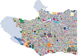 Vancouver Canada Map by Cartographically Speaking Vancouver Coloured Block Map Spacing
