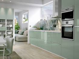 White Gloss Kitchen Cabinet Doors by A Medium Size Kitchen With Light Green High Gloss Doors And