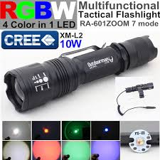 multi colored strobe light ra 601 zoom cree xm l rgbw 4 color in 1 led red blue green white