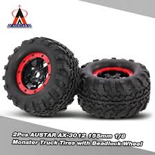 traxxas monster jam rc trucks 2pcs austar ax 3012 155mm 1 8 monster truck tires with beadlock