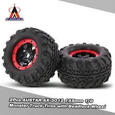 monster jam traxxas trucks 2pcs austar ax 3012 155mm 1 8 monster truck tires with beadlock