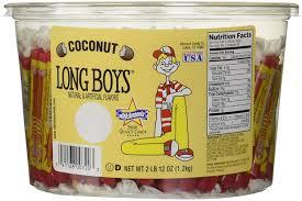 amazon com atkinson candy long boys coconut 130 piece tub 2 lb