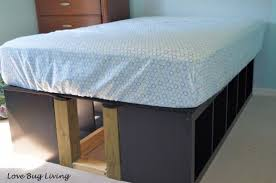 storage beds ikea hackers and beds on pinterest ikea expedit platform bed ikea hackers has lots of storage from