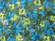 Vintage Floral Upholstery Fabric 60s Fabric Vintage Floral Upholstery Fabric Cotton Linen Blue
