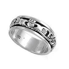 fenian ring celtic unisex claddagh claddaugh spin spinner ring silver