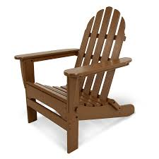 Plastic Wood Patio Furniture by Shop Polywood Classic Adirondack Teak Plastic Folding Patio Chair