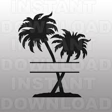 palm trees monogram svg file cutting template clip art for