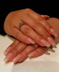 sculptured coffin shaped nails light pink glitter colored