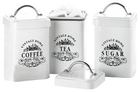 kitchen canisters and jars vintage style home metal canisters set of 3 traditional