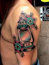 men show nice lantern with flower half sleeve tattoo golfian com