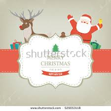christmas card santa claus reindeer vector stock vector 529053118