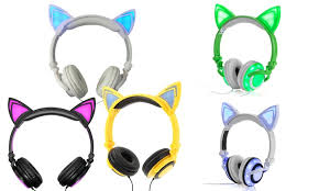 light up cat headphones up to 87 off on jamsonic light up cat headphones groupon goods