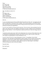 cover letter example for maintenance supervisor