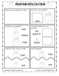 pumpkin exploration investigation worksheet by kindergarten kids
