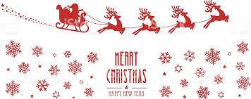 santa sleigh reindeer flying red silhouette merry christmas stock