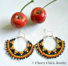 cherry halloween seed beaded hoop earrings